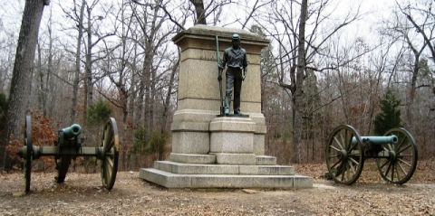 Stone and bronze statue of Civil War soldier at Shiloh National Military Park