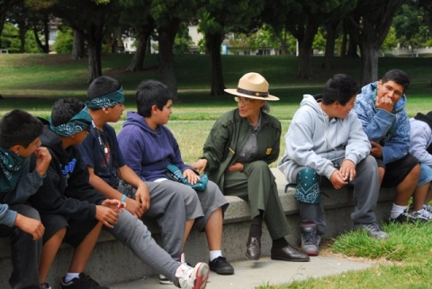 National Park Service Ranger Betty Soskin speaking with children