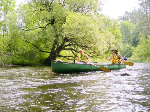 Youth and adult paddling in a canoe down the St. Croix National Scenic Riverway