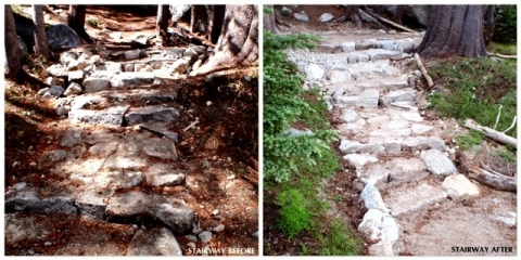 Trail stairway before and after repairing of stone steps