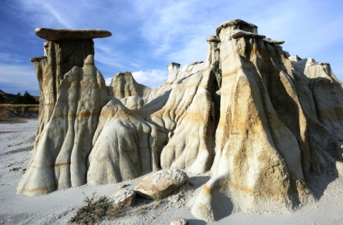 Rock formations on land of Theodore Roosevelt National Park