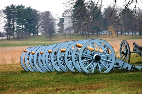 Field of Valley Forge with cannons