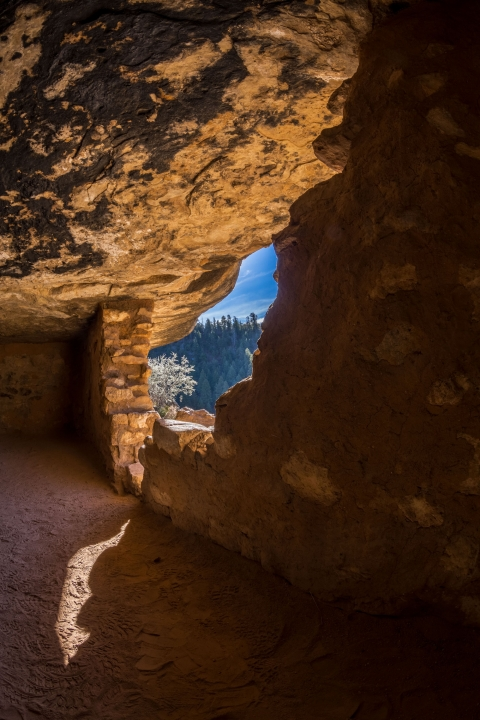 View of Walnut Canyon National Monument from within a Sinagua dwelling