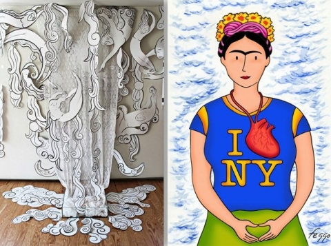 """Artistics works, """"Women of the Water"""" by Andrea Arroyo and Felipe Galindo Gómez's """"Frida Loves New York."""""""