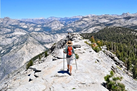 Person hiking up Cloud's Rest trail at Yosemite National Park