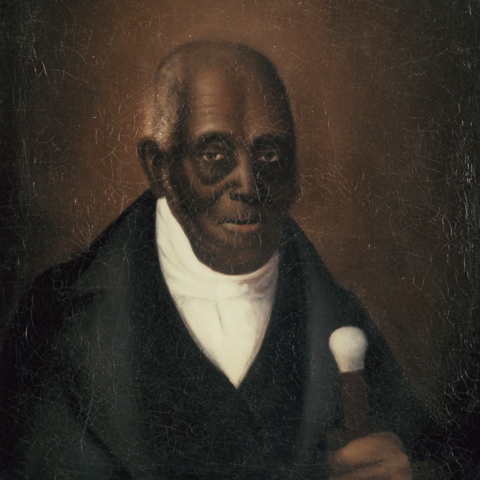 An 1848 portrait of Agrippa Hull depicted as a gentleman wearing a black suit and holding a walking stick with an ivory-topped(?) handle.