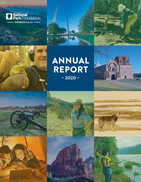 Collage of park images on the NPF annual report cover for FY2020