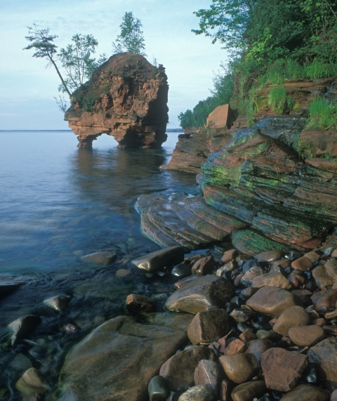 A sea stack in Lake Superior at Apostle Islands National Lakeshore