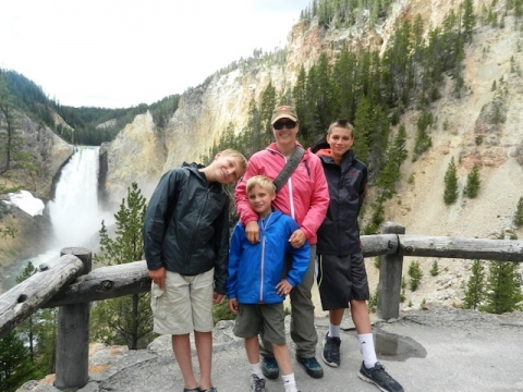 Author Amy Whitley with her family at Yellowstone National Park