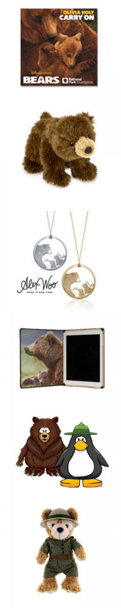 "Bears products, Olivia Holt's new single and BEARS anthem, ""Carry On"" , plush bear toy, Alex Woo necklace, iPad cover"