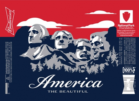 Budweiser packaging depicting Mount Rushmore National Monument