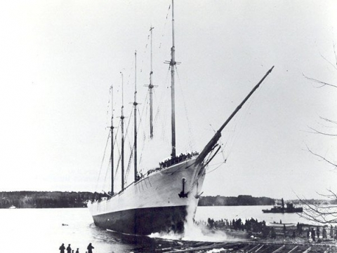 The Carrol A. Deering ship black and white photo