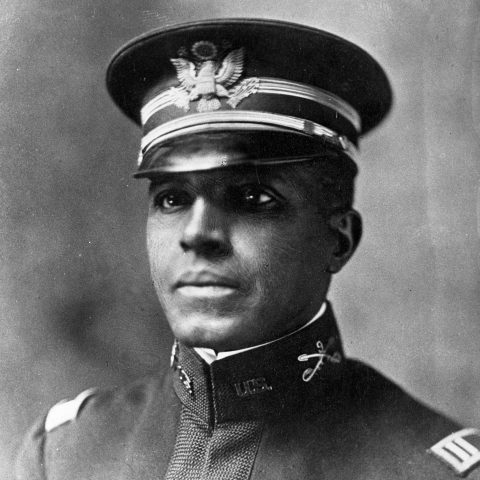 Black and white photograph of Charles Young in uniform in 1903