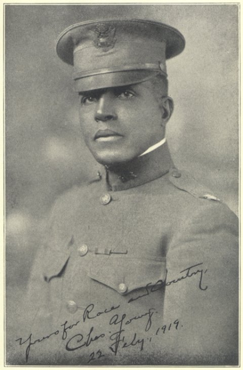 Military photograph of Charles Young in a US military uniform and hat from 1919