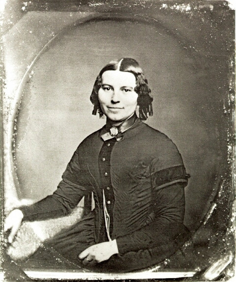 Historic image of a young female, Clara Barton, in 1850
