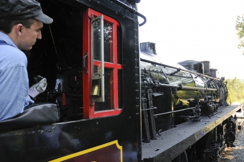 Conductor of the steam engine at Cuyahoga Valley National Park