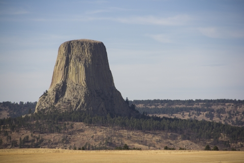 Devils Tower and its surrounding landscape