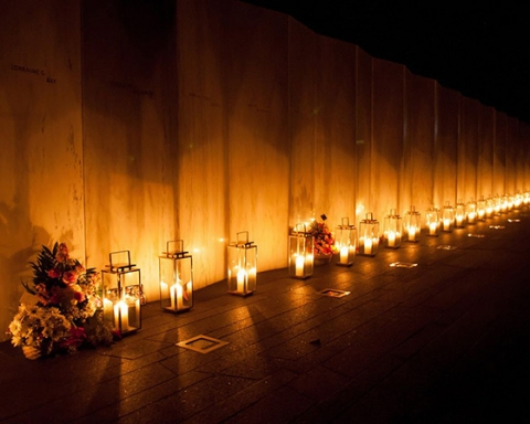 Luminaria at night at Flight 93 National Memorial