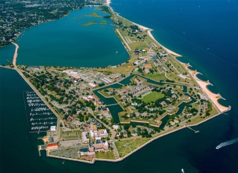 Aerial view of the star-shaped Fort Monroe on the Old Point Comfort Virginia peninsula