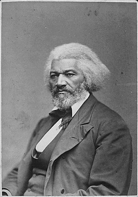 Black and white photo of Frederick Douglass