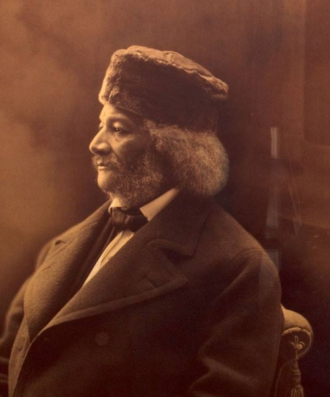 A portrait of Frederick Douglass, circa 1878, taken in Rochester, New York. Douglass wears a Cossack hat, now part of the collection at the park site.