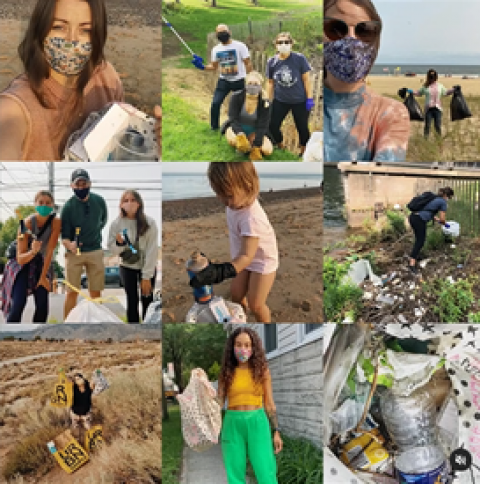 Collage of images showing people cleaning up trash in their local communities