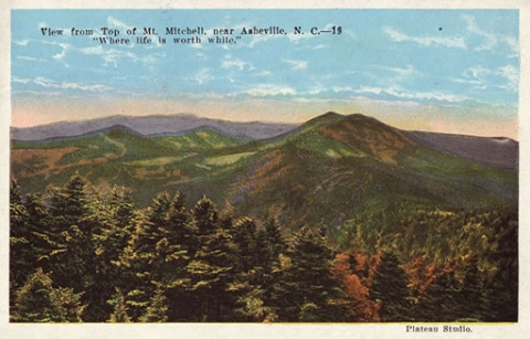 Colorful postcard of a photo from Mt. Mitchell taken by George Masa