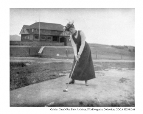 Black and white image of Maud Clark teeing up at the Presidio Golf Course at Golden Gate National Recreation Area