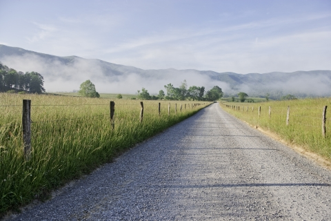Cades Cove Road at Great Smoky Mountains National Park