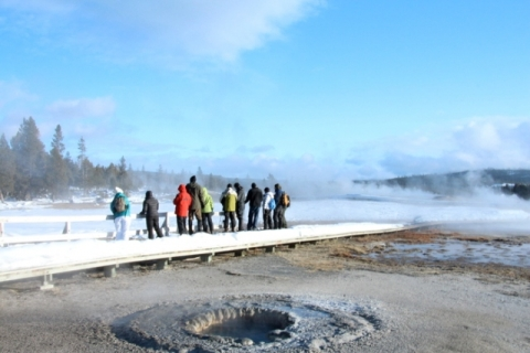 Tourists at the Old Faithful Geyser Basin