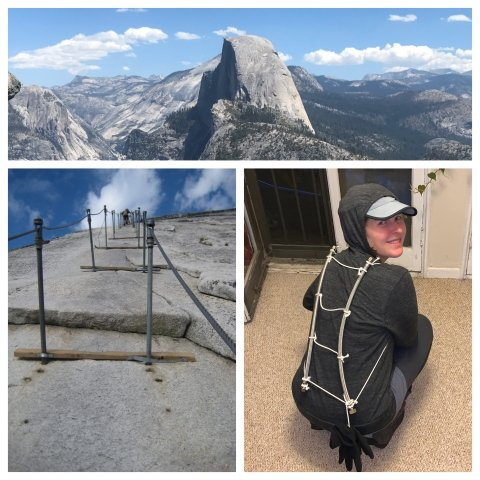 Collage of images: 2 of Half Dome, and one of a person dressed as Half Dome, with a hooded sweatshirt with a climbing ladder attached up the back of the sweatshirt