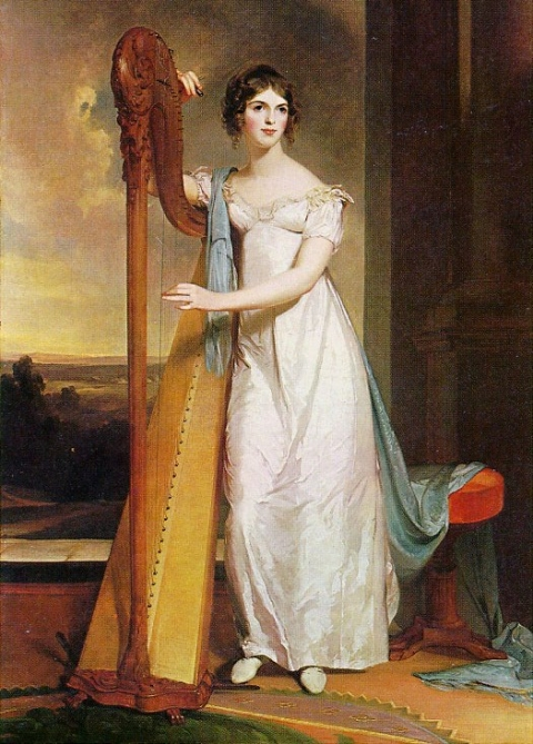 Painting of Eliza Ridgely in a floor-length white dress standing next to her full-sized harp