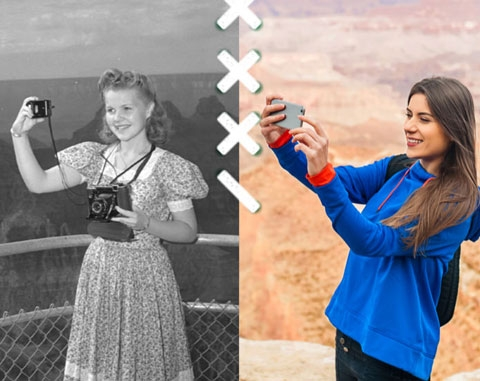 Side by side comparison of old and new photos