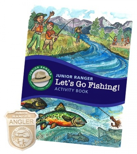 Illustrated booklet cover depicting a park ranger teaching young visitors how to fish, plus the Junior Ranger Angler badge