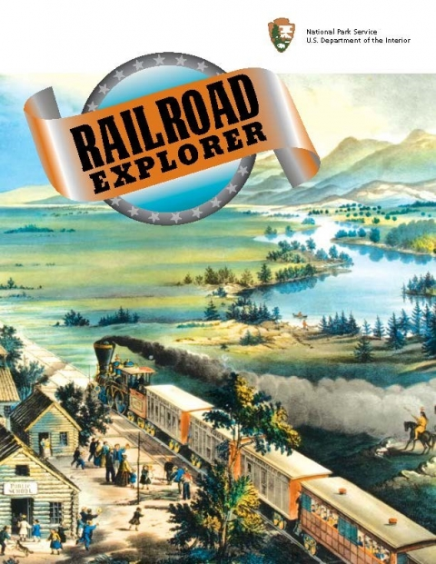Illustrated cover of the Junior Ranger Railroad Explorer booklet