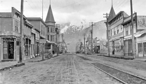 Historic image of Broadway Street in Skagway, Alaska, from Klondike Gold Rush National Historic Park
