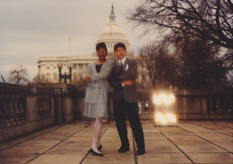 Kyle and classmate Tasha Jones pose for a photo during the Upward Bound experience in Washington, D.C.