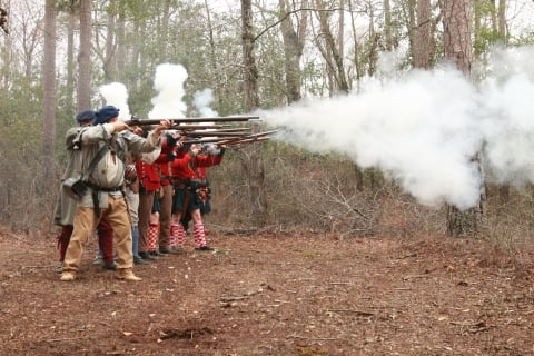 Living historians as British Loyalists at Moores Creek National Battlefield