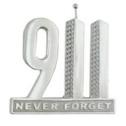 """9/11Silver \""Never Forget"" pin to benefit the Flight 93 National Memorial Campaign"