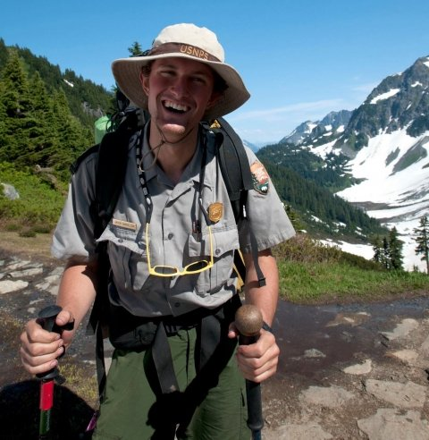 Park Ranger hiking through North Cascades National Park