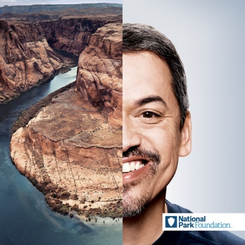 Half-image of NPF supporter Bryan Barreas paired with half-image of Glen Canyon National Recreation Area