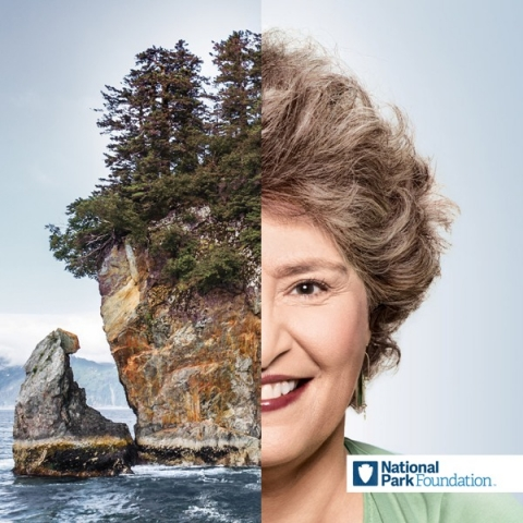 Half image of NPF supporter Marcia Miller paired with half-image of Kenai Fjords National Park