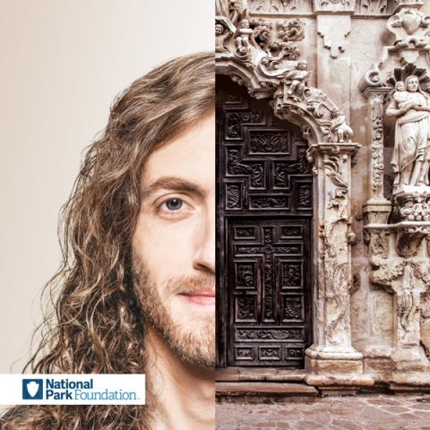 Half-image of NPF supporter Matt paired with half-image of San Antonio Missions HIstoric Park image
