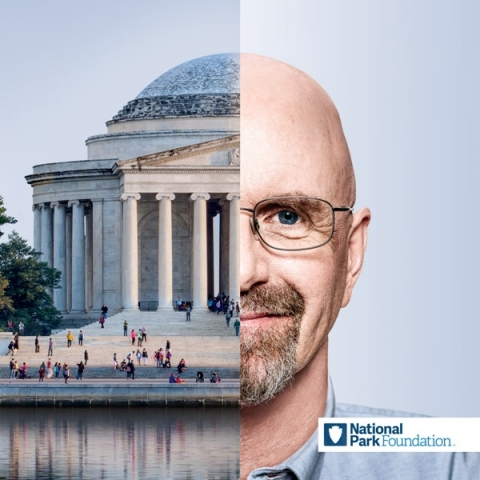 Half-image of NPF supporter Richard paired with half-image of the Jefferson Memorial