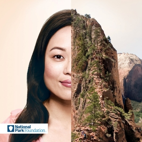 Half-image of NPF supporter Stephanie Shinmachi paired with half-image of Zion National Park cliff and trees