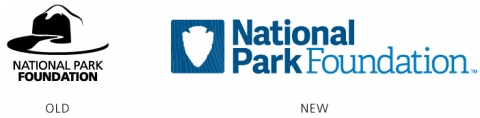 Two National Park Foundation logos next to each other, left is the old logo, right is the new logo