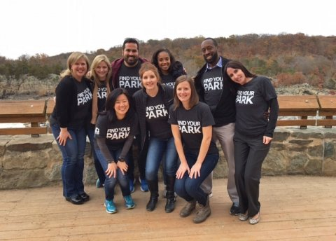 A group of NPF staffers pose for a photo at Great Falls Park