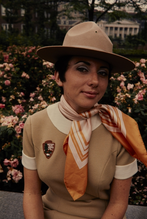 NPS employee in the 1970s outside Independence National Historical Park