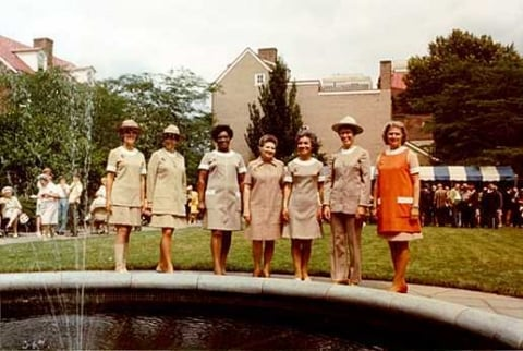 A group of NPS employees in uniform outside Lyndon B. Johnson National Historical Park