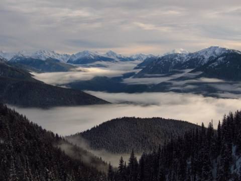 Clouds over Hurricane Ridge Mountains at Olympic National Park